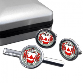 Chapman Coat of Arms Round Cufflink and Tie Clip Set