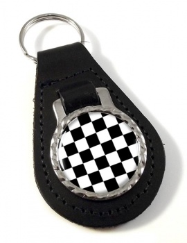 Chequered (Checkered) Floor of King Solomon's Temple Leather Key Fob