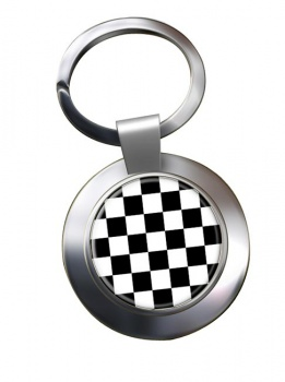 Chequered (Checkered) Floor of King Solomon's Temple Chrome Key Ring