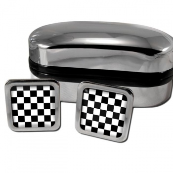 Chequered (Checkered) Floor of King Solomon's Temple Square Cufflinks