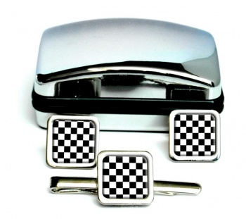 Chequered (Checkered) Floor of King Solomon's Temple Square Cufflink and Tie Clip Set