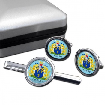 Cheshire (England) Round Cufflink and Tie Clip Set