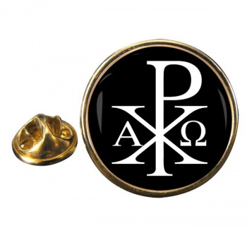 Chi-Rho Alpha Omega  Leather Round Pin Badge