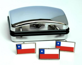 Chile Flag Cufflink and Tie Pin Set