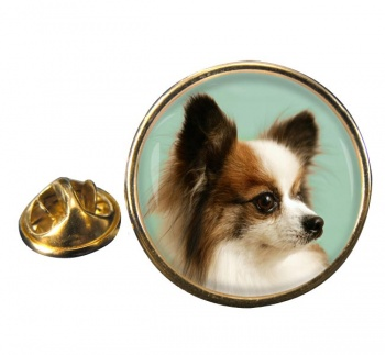 Japanese Chin Round Pin Badge