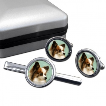 Japanese Chin  Cufflink and Tie Clip Set