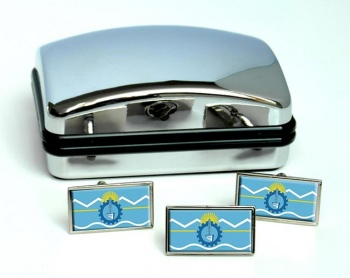 Argentine Chubut Flag Cufflink and Tie Pin Set