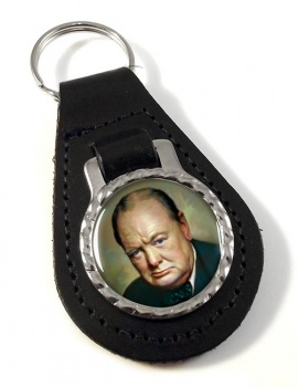 Churchill Bonded Leather Medallion Keyfob