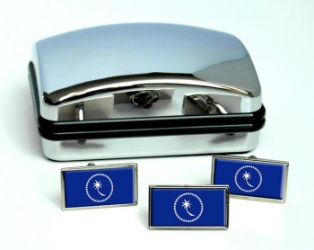 Chuuk (Micronesia) Flag Cufflink and Tie Pin Set