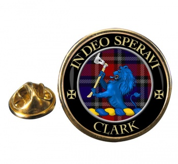 Clark lion Scottish Clan Round Pin Badge