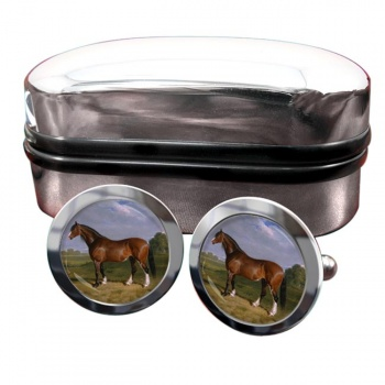 A Clydesdale Stallion by Herring  Round Cufflinks