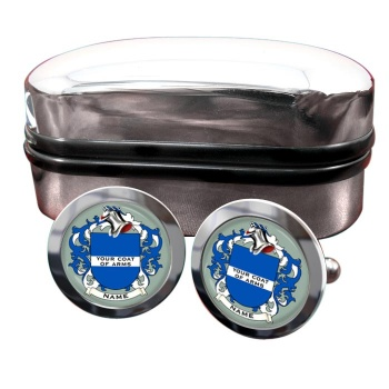 Any Name, Personalised Coat of Arms Round Cufflinks