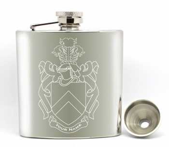 Family Crest/Coat of Arms Hip Flask - Any Surname