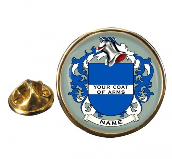 Any Name, Personalised Coat of Arms Round Pin Badge