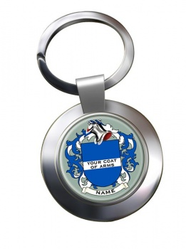 Any Name, Personalised Coat of Arms Chrome Key Ring