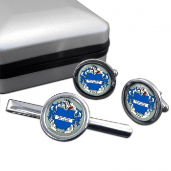 Any Name, Personalised Coat of Arms Round Cufflink and Tie Clip Set