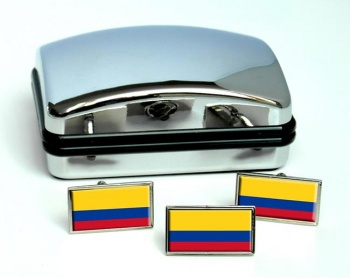 Colombia Flag Cufflink and Tie Pin Set