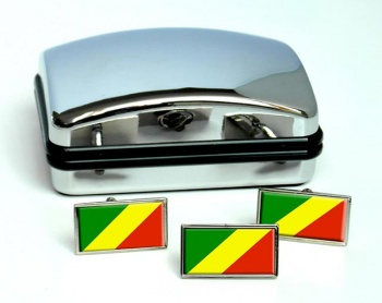 Congo Flag Cufflink and Tie Pin Set
