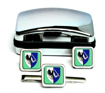 Connaught Connacht (Ireland) Square Cufflink and Tie Clip Set