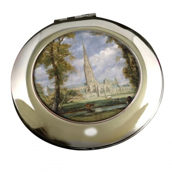 Salisbury Cathedral by Constable Round Mirror