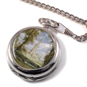 Salisbury Cathedral by Constable Pocket Watch