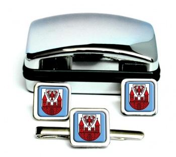 Cottbus (Germany) Square Cufflink and Tie Clip Set