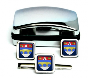 Courbevoie (France) Square Cufflink and Tie Clip Set