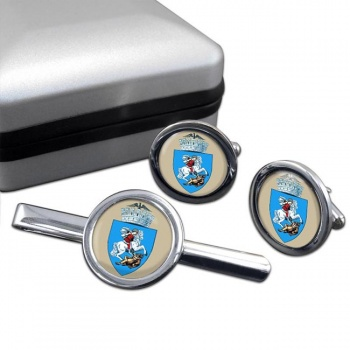 Craiova (Romania) Round Cufflink and Tie Clip Set