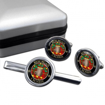 Crosbie Scottish Clan Round Cufflink and Tie Clip Set