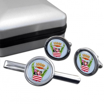 Cuneo (Italy) Round Cufflink and Tie Clip Set