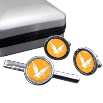Cyprus  Round Cufflink and Tie Clip Set