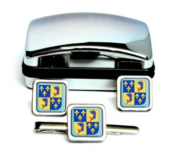 Dauphine (France) Square Cufflink and Tie Clip Set