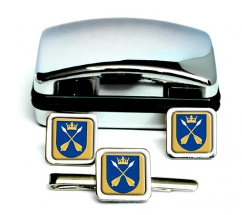 Dalarna (Sweden) Square Cufflink and Tie Clip Set