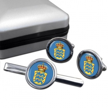 Kingdom of Denmark Round Cufflink and Tie Clip Set