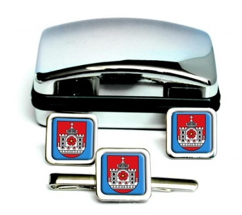 Detmold (Germany) Square Cufflink and Tie Clip Set