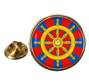 Dharmacakra Wheel of Dharma Leather Round Pin Badge