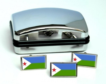 Djibouti Flag Cufflink and Tie Pin Set