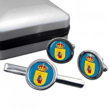 Drenthe (Netherlands) Round Cufflink and Tie Clip Set