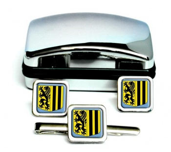 Dresden (Germany) Square Cufflink and Tie Clip Set