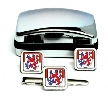 Dusseldorf (Germany) Square Cufflink and Tie Clip Set