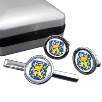 Groot Rijkswapen (Netherlands) Round Cufflink and Tie Clip Set