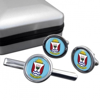 Eastern Cape (South Africa) Round Cufflink and Tie Clip Set