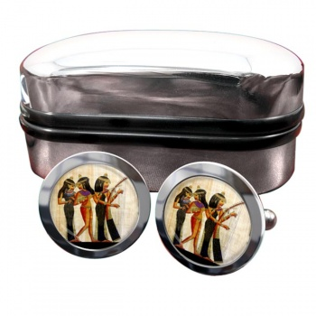 Ancient Egyptian Musicians Round Cufflinks