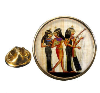Ancient Egyptian Musicians Round Pin Badge