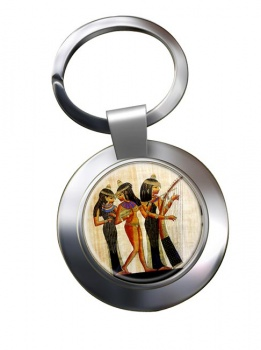 Ancient Egyptian Musicians Chrome Key Ring