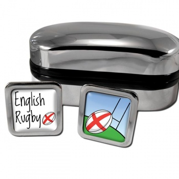 English Rugby Square Cufflinks