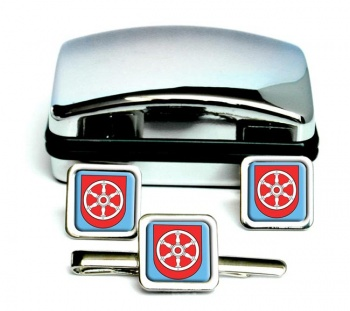 Erfurt (Germany) Square Cufflink and Tie Clip Set