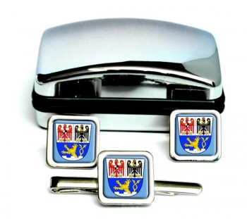 Erlangen (Germany) Square Cufflink and Tie Clip Set