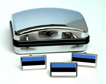 Estonia Eesti Flag Cufflink and Tie Pin Set