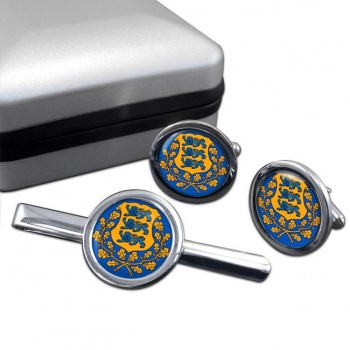 Estonia Eesti Round Cufflink and Tie Clip Set